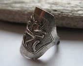 Antique Chinese Silver Wrap Opera Souvenir Ring  ~ Unusual ~ Animal in Forest Trees