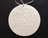 Baby's First Christmas personalized ornament by Paloma's Nest, with Aedriel