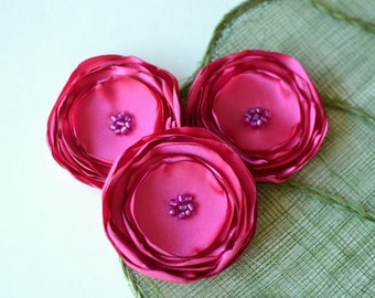 Bright pink flowers, fabric flowers, large silk flowers, floral appliques, rose embellishments, wedding flowers (3pcs)- FUCHSIA BLOSSOMS