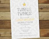 Twinkle twinkle little star baby shower invitation, baby boy, girl or gender neutral