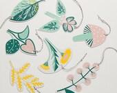 Flower, Mushroom and Leaf Garland Gift Tag Set - Letter Press