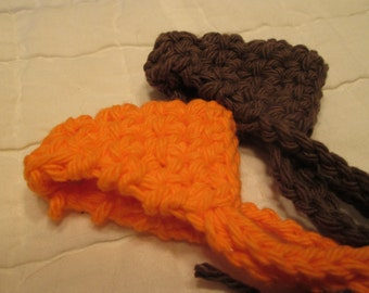 Crocheted Nose Warmers Set of 2 Orange and Brown