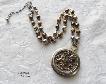 Cupid at Rest, Antique Button Necklace with Czech Glass Beads- Steampunk Statement Piece