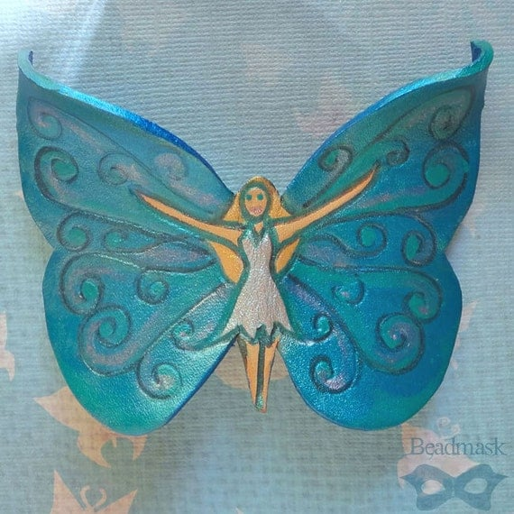 Teal Blue Leather Fairy Barrette