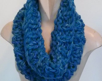 Super chunky cowl knit scarf neckwarmer in mid blues lighter than in photos for women
