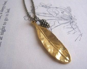 Gold Olive Leaf and Alder Seed charm necklace - botanical brass - gift for gardener