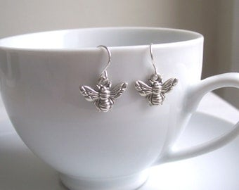 Petite Silver Bee charm earrings - little bees - gift for gardener - nickel free