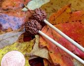 Rudraksha Bodhi seed bead topped knitting needles size 3