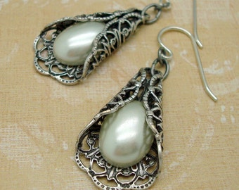 Silver Filigree Earrings with Imitation Cream Pearl Cabochons