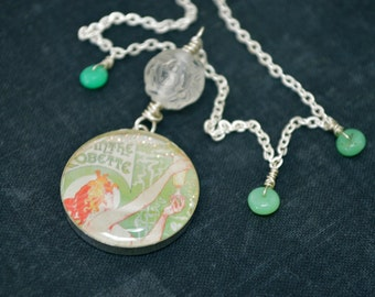 One of a kind Art Nouveau themed necklace featuring Absinthe Robette poster set under resin in sterling silver pendant on sterling necklace