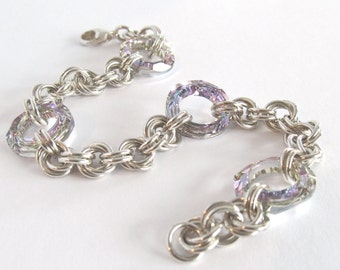 Sterling Chainmail Bracelet - Silver Chainmaille Bracelet - Swarovski Crystal Chainmail Bracelet - Artisan Sterling Silver Bracelet - 212012