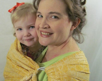 Baby Sling Pure Linen Ring Sling Carrier - Jacquard in Mimosa - DVD included, primrose yellow, excellent support, newborn, toddler