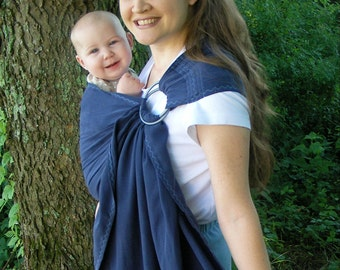 Tencel Ring Sling Baby Carrier - Navy blue Twill weave - DVD included - babywearing attachment parenting
