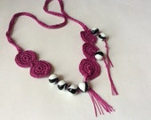 Creative Black and White Beaded and Magenta Crocheted Neckace