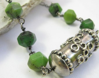 Australian Chrysoprase Necklace, OOAK Handmade Sterling Silver Bead Necklace, Stone Necklace, Green Gemstone Necklace, Chrysoprase Jewelry