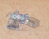 Swarovski Blue Shade Crystal Earrings, 2xAB, Light Sappire, Stairway, 14mm, Handmade Jewelry