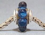 Dark Blue Dot Lampwork Glass European Charm Bead SRA Handmade OOAK Deep Waters
