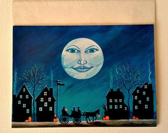 """Halloween frame-able greeting card """"Witch Moon"""""""