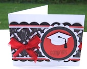 Graduation Card, Congratulations Card, High School / College Graduation, Red, White Black Graduation Cap