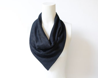 Reversible Neckerchief Scarf Cowl Black and Off White