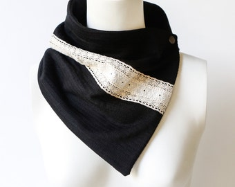 Black with Ecru Lace Scarflette Cowl Tube