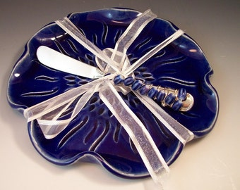 Serving Tray/Cheese Platter/Party Platter in Royal Blue with Beaded Knife Spreader