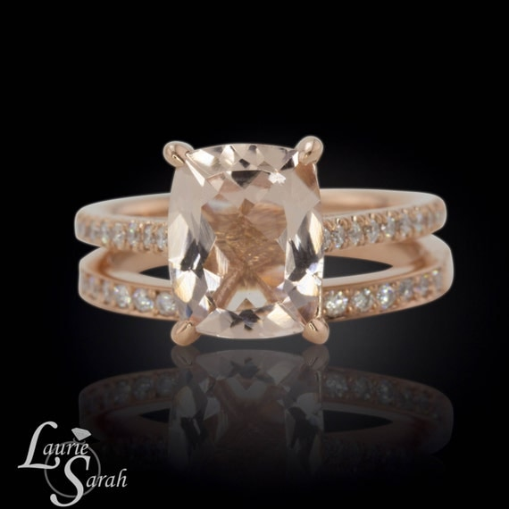 Cushion Cut Morganite Engagement Ring 3 by LaurieSarahDesigns