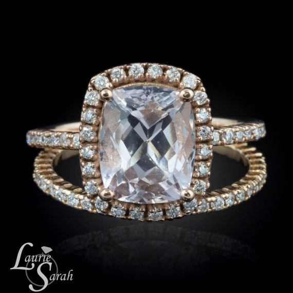 Morganite Engagement Ring 3 carat Pink Morganite Engagement