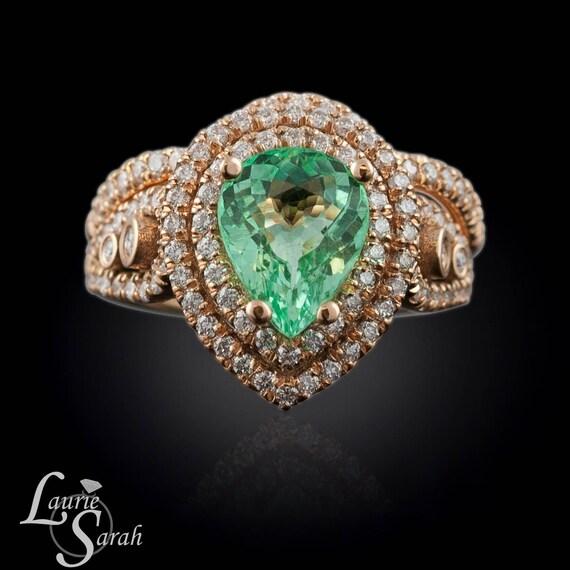 gold engagement ring set paraiba tourmaline and