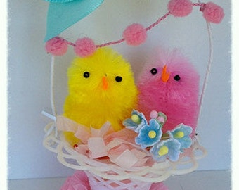 Easter Decoration Shabby Chic Chicks in an Easter Basket Easter Ornment for Easter Party
