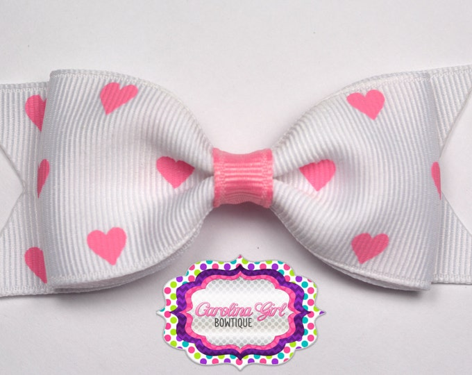 "White with Pink Hearts Bow ~ 3.5"" Bow ~ No Slip ~ Small HairBow ~ Girls Barrette ~ Toddler Bow ~ Baby Hair Bow ~ Hair Clip ~ Girls Hair Bow"