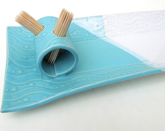 Baby Blue and White Textured Whimsical Wavy Handmade Ceramic Pottery Rectangular Appetizer Serving Toothpick Plate