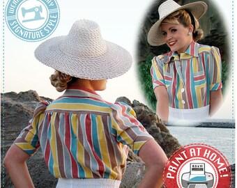 E-Pattern- Smooth Sailing 1930s BLOUSE Pattern- Size Pack B- Wearing History