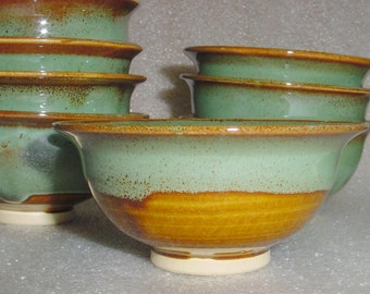 Green and Amber Wheel Thrown Pottery Small Bowls - Prep Bowls - Dipping Bowls - Baby Food Bowls