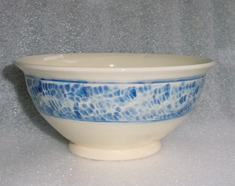 Ivory and Royal Blue Wheel Thrown Pottery Bowl with Textured Exterior