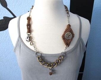 "Fiberpunk™ Necklace - Brown - Long 14"" / Fiber Jewelry / Crochet Jewelry / Tatted Jewelry"