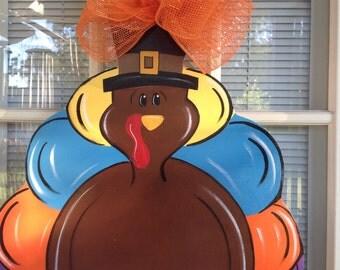 Front door decor, thanksgiving door decoration, Thanksgiving Turkey Door hanger
