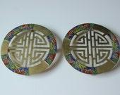 RESERVED.....Old Chinese enameled brass trivet, pair