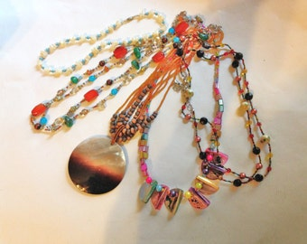 Boho Necklace Lot of FIVE necklaces Shell Mother of Pearl VIntage 80s ABA