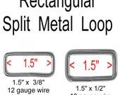 """20 PIECES - 1 1/2"""" - Split Rectangular Loop Rings, 1 1/2 inch, NICKEL or BRASS Plate Finish, 1.5 Metal - 10 or 12 gauge"""