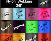 "10 Yards - 3/8"" - HEAVY Weight Nylon Webbing, 9.5mm, Strap, Camera, Lanyard - You Choose Color"