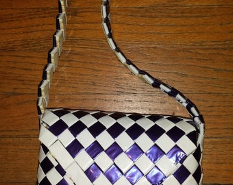 Blue and white candy wrapper purse