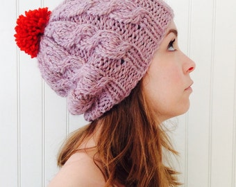 cabled beanie in soft pink ( sale )