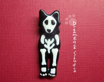 Siberian Husky Skeleton Halloween Pendant Artist Hand-Made OOAK Necklace Dog Art Jewelry B6
