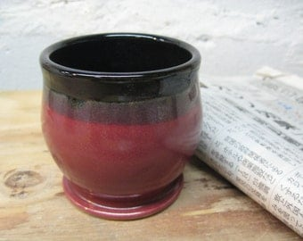 Ceramic Cup - Red Rasberry and Black