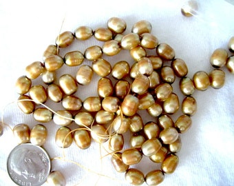 Antique Gold Rice Cultured Freshwater Pearl  D 6-7mm Top drilled