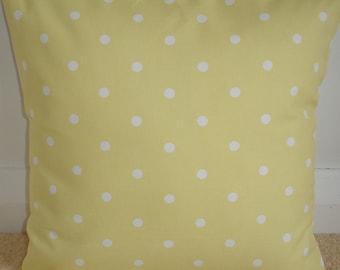 "18x18 Yellow Polka Dot Pillow Sham 18"" Decorative Cushion Cover Designer Cotton Case Slip Pillowcase White Dots 18""x18"""