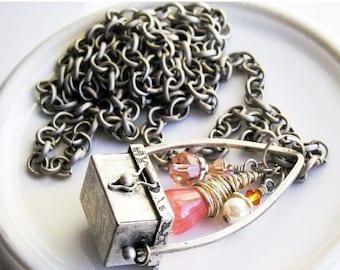 HOLIDAY SALE 35% OFF  - Charm Necklace Treasure Chest Cherry Quartz Swarovski Crystals, Antique Silver