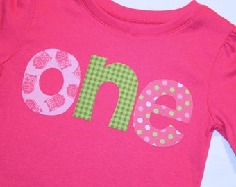 Girls 1st Birthday ONE Owl shirt for girls - 18 month long sleeve pink shirt - lettering in pink and green