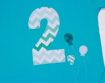 Boys Second Birthday Number 2 Shirt - Size 2 short sleeve aqua shirt with number 2 and balloons in aqua and white chevron